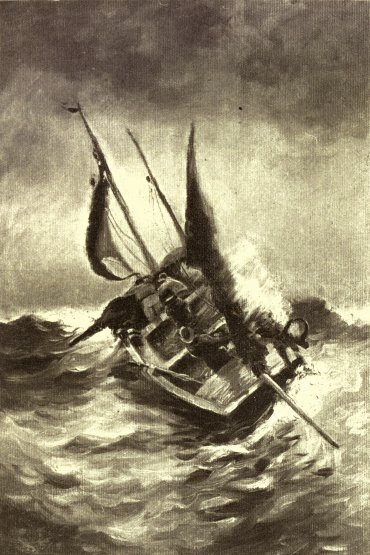Ship tossed at sea